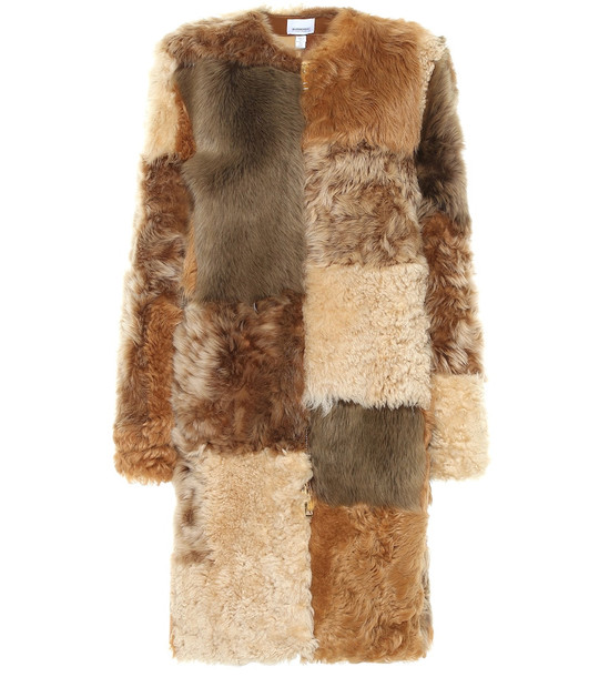 Burberry Patchwork shearling coat in brown