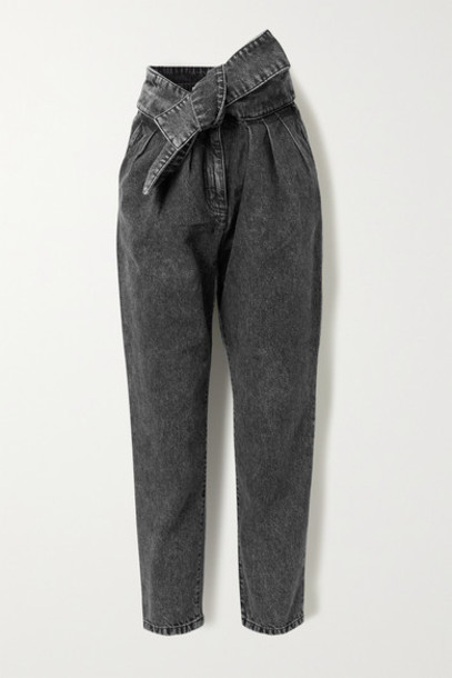 IRO - Repu Cropped Belted Acid-wash High-rise Tapered Jeans - Dark gray
