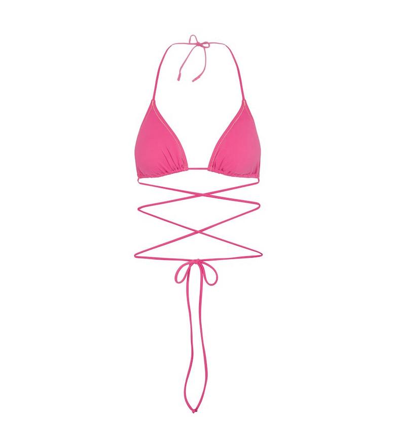 Reina Olga Miami triangle bikini top in pink