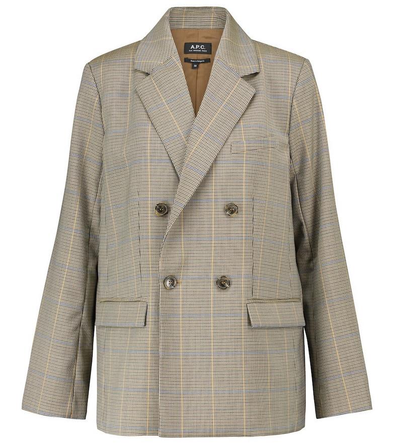A.P.C. Prune houndstooth wool jacket in beige
