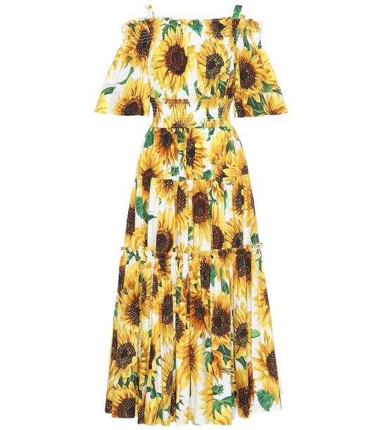 Dolce & Gabbana Sunflower-print cotton midi dress in yellow
