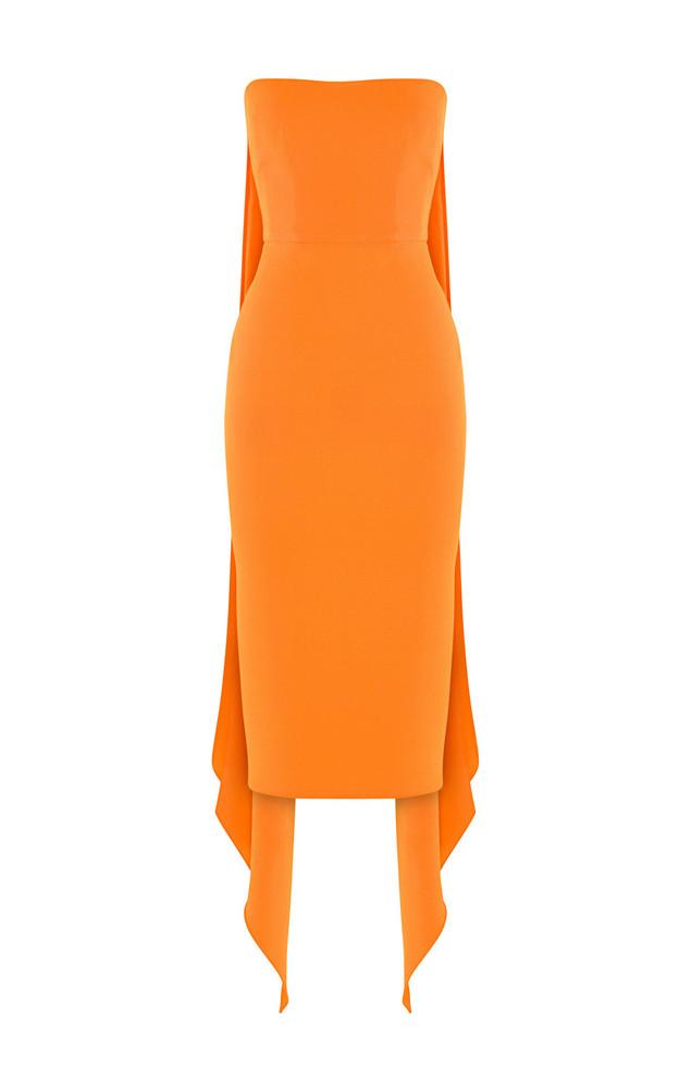 Alex Perry Hall Drape-Back Crepe Midi Dress in orange