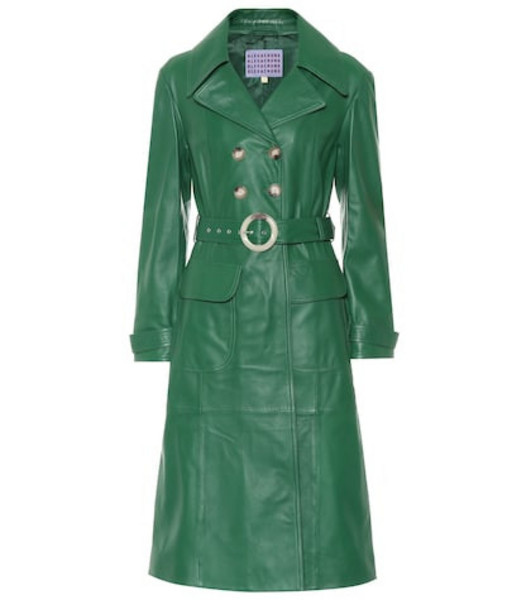 AlexaChung Leather trench coat in green