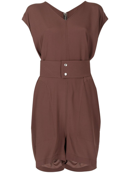 Rick Owens short-sleeve fitted playsuit - Brown
