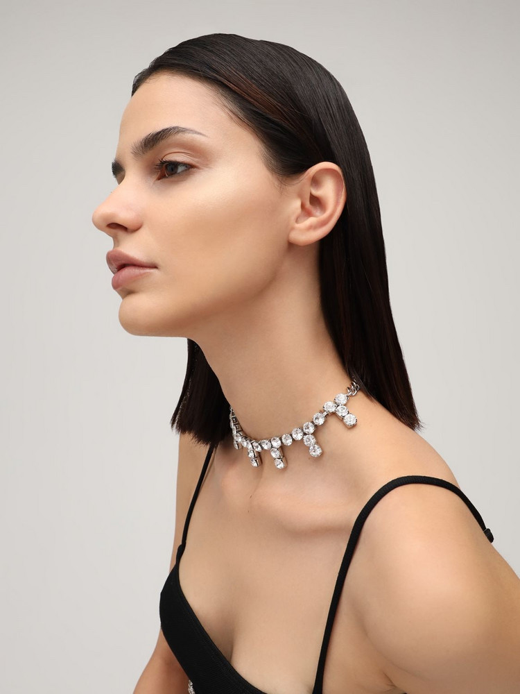 AREA Blanket Stitch Crystal Choker in silver