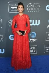 bag,red lace dress,lace dress,maxi dress,gown,nina dobrev,celebrity,red dress,red carpet dress