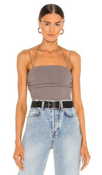 h:ours Benji Bodysuit in Grey in charcoal