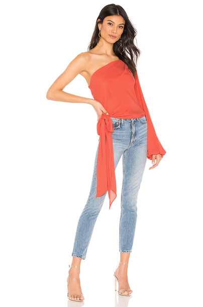 krisa One Shoulder Tie Top in orange