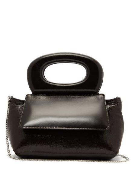 Lemaire - Cabas Mini Leather Trim Coated Canvas Handbag - Womens - Dark Brown