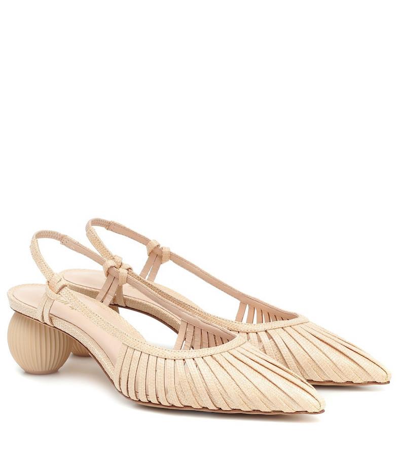 Cult Gaia Alia leather slingback pumps in beige
