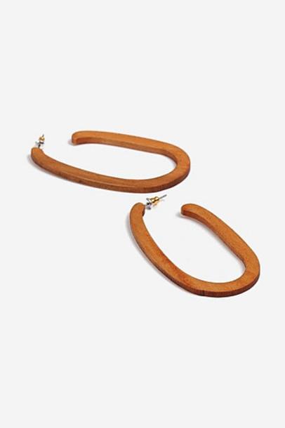 Topshop Wooden Oval Earrings - Brown