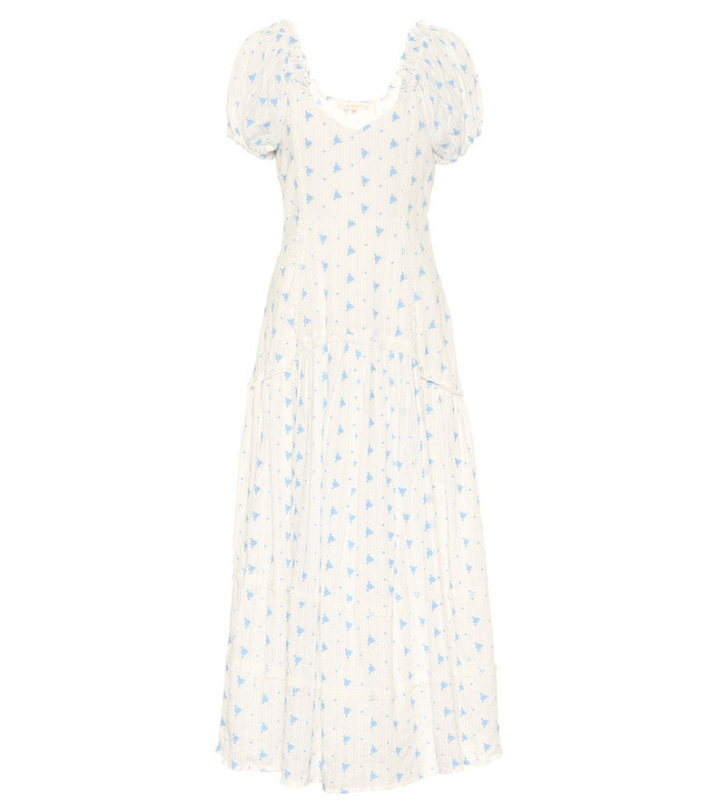LoveShackFancy Exclusive to Mytheresa – Jeanette floral cotton midi dress in white