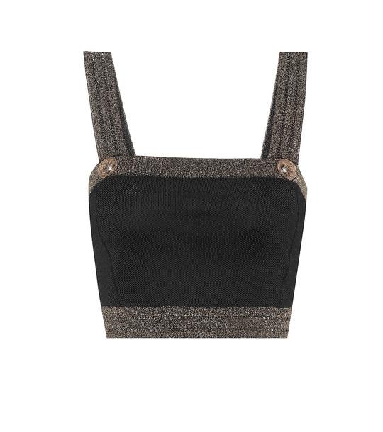 Balmain Embellished crop top in black