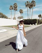 dress,maxi dress,white dress,white boots,belt,sleeveless dress,shoulder bag,hat