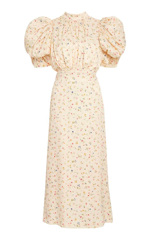ROTATE Dawn Floral Puff-Sleeve Midi Dress in ivory