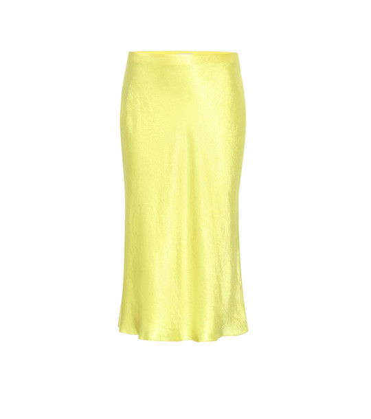 Vince Satin slip midi skirt in yellow