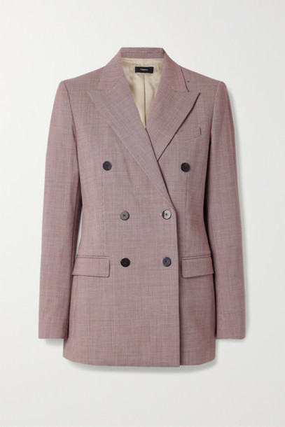 Theory - Houndstooth Woven Blazer - Claret