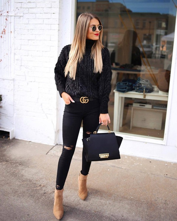 sweater turtleneck sweater black sweater cable knit black skinny jeans black ripped jeans ankle boots heel boots black bag gucci belt