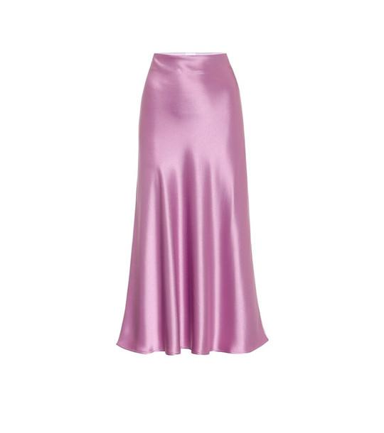 Galvan Valletta satin midi skirt in purple