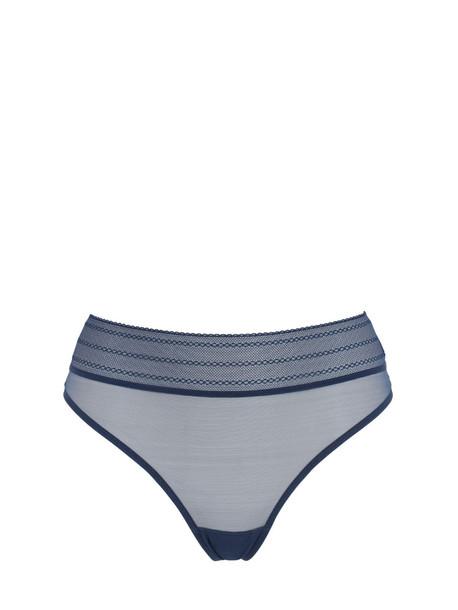 ELSE Bare Sheer Mesh Thong in blue