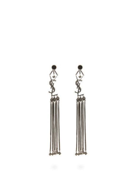 Saint Laurent - Tasseled Logo Earrings - Womens - Silver