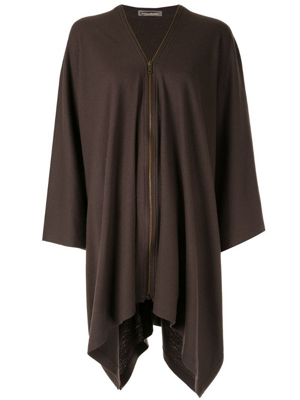 Issey Miyake Pre-Owned zip-up poncho in brown
