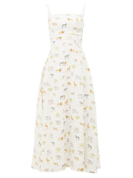 Emilia Wickstead - Freya Safari Print Cotton Dress - Womens - Cream Print