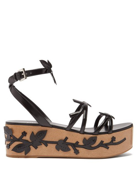 Prada - Flatform Floral Appliquéd Leather Sandals - Womens - Black