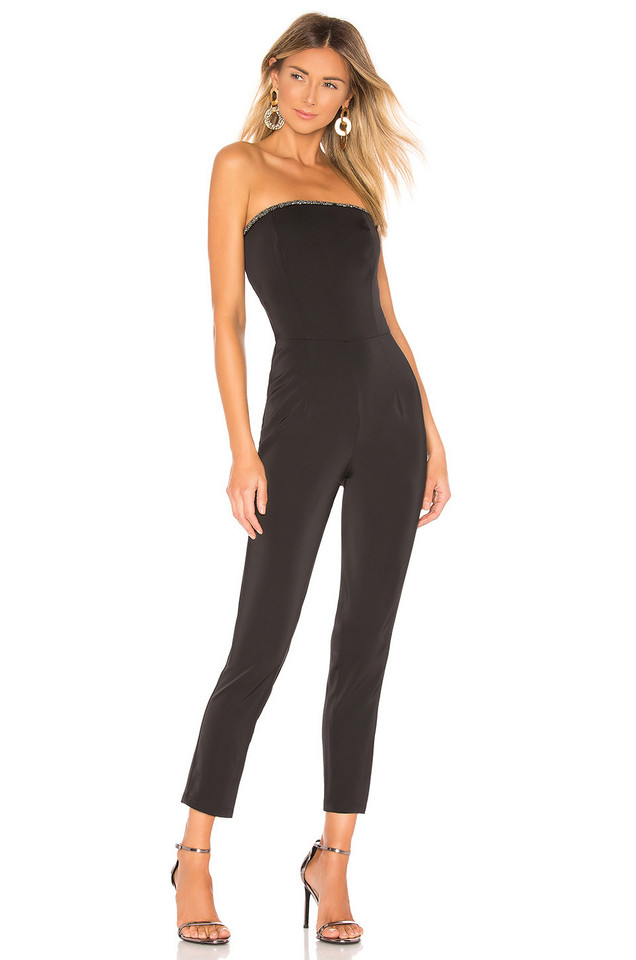 About Us Allison Beaded Strapless Jumpsuit in black