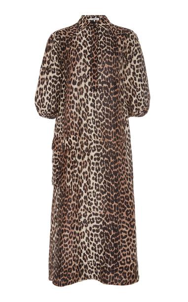 Ganni Leopard-Print Linen And Silk-Blend Midi Dress Size: 36