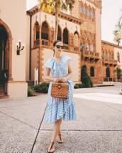 dress,wrap dress,blue dress,striped dress,midi dress,flat sandals,handbag