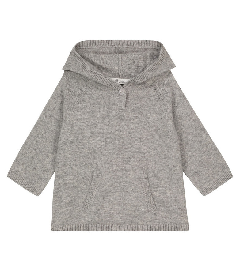 Bonpoint Baby cashmere hooded sweater in grey