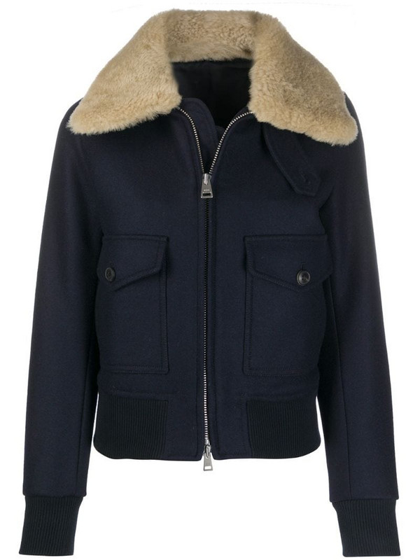 AMI Paris shearling trimmed aviator jacket in blue