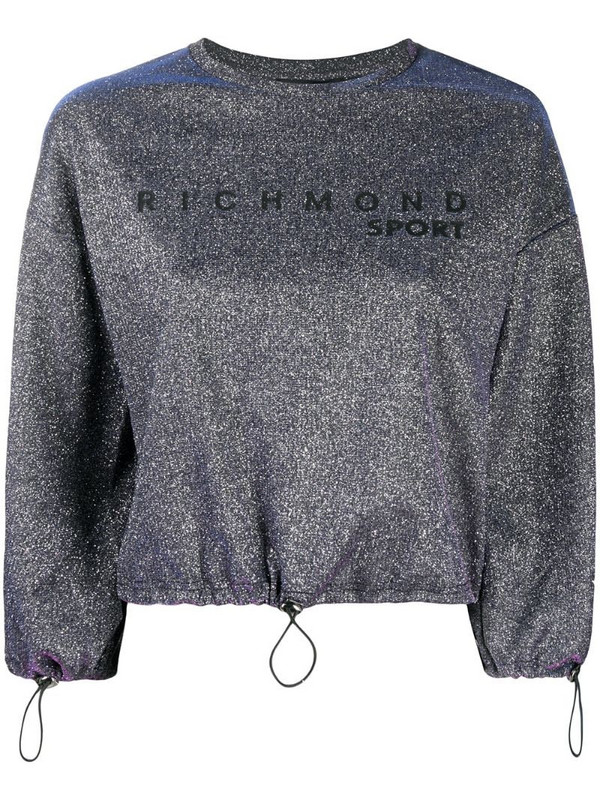 John Richmond metallic cropped sweatshirt in purple