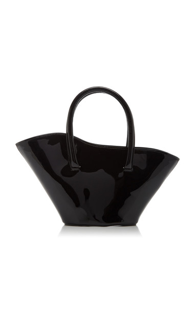 Little Liffner Micro Tulip Patent Leather Top Handle Bag in black