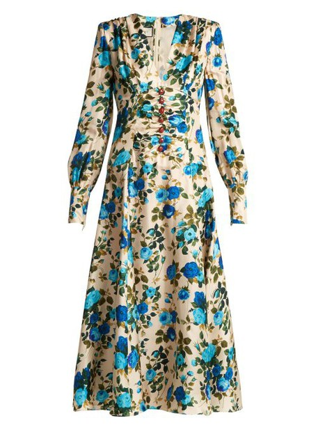 Gucci - Rose Print Silk Twill Midi Dress - Womens - White Multi