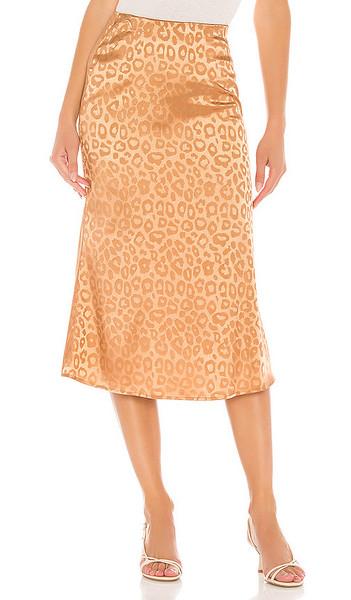J.O.A. J.O.A. Woven Bias Cut Midi Skirt in Brown