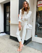 top,white blouse,long sleeves,high waisted jeans,white jeans,white sandals,white bag
