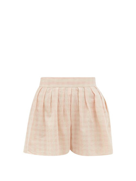 Anaak - Annex Checked Cotton Shorts - Womens - Pink Print