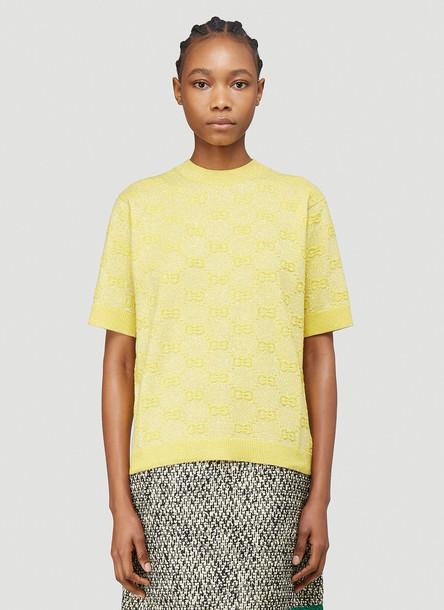 Gucci Interlocking G Metallic-Knit Sweater in Yellow size XS