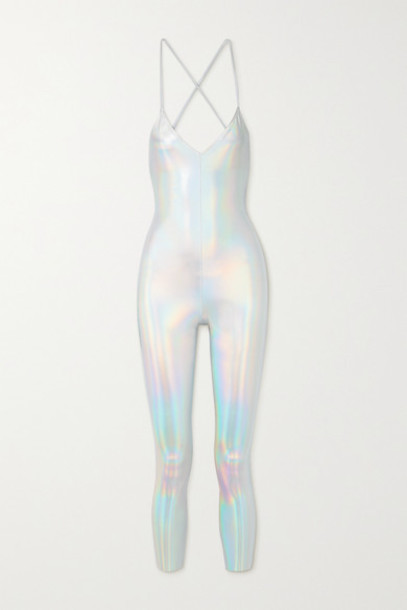 Norma Kamali - Fara Open-back Iridescent Coated Stretch-jersey Jumpsuit - Silver