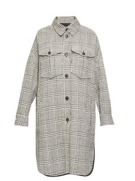 Isabel Marant Étoile - Obira Houndstooth Shirt Coat - Womens - Dark Grey