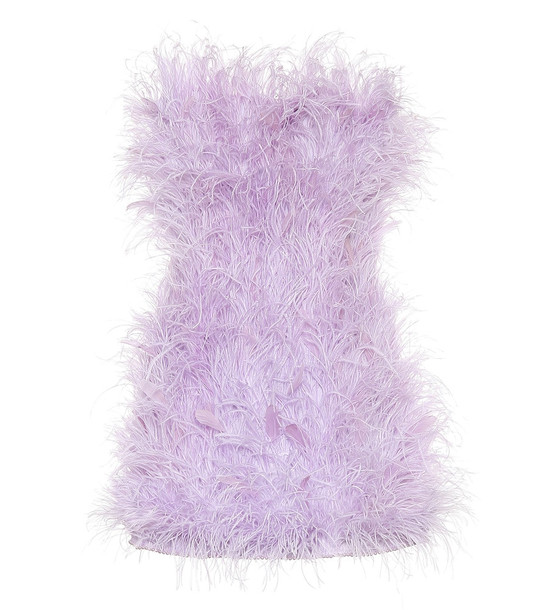 The Attico Embellished feather minidress in purple