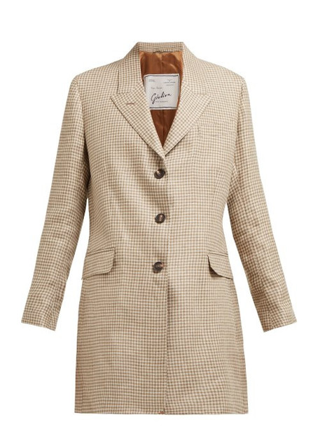 Giuliva Heritage Collection - The Karen Single Breasted Checked Linen Blazer - Womens - Brown