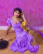 dress,purple puff sleeves