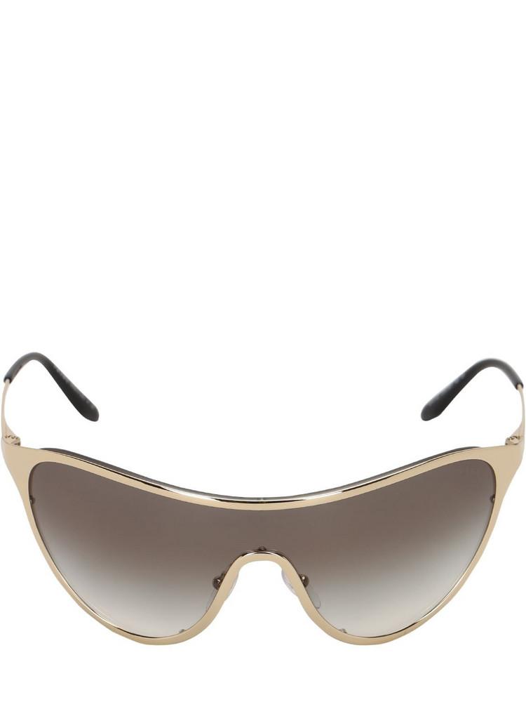 PRADA Oversize Metal Mask Sunglasses in purple / silver