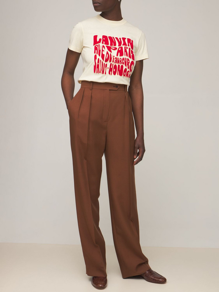 LANVIN Logo Printed Cotton Jersey T-shirt in ivory / red