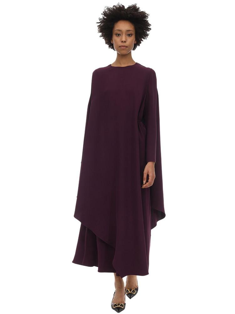 VALENTINO Long Silk Cady Cape Dress in purple