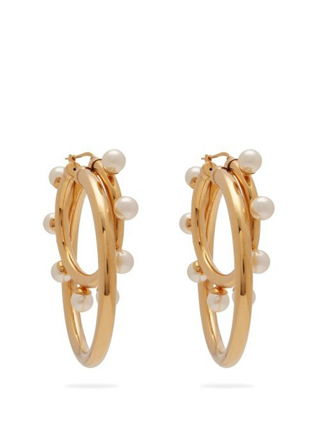 Peter Pilotto - Faux Pearl Double Hoop Earrings - Womens - Gold