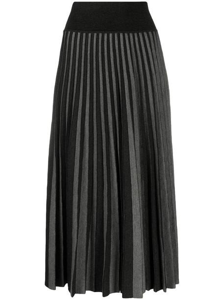 Agnona pleated knit midi skirt in grey